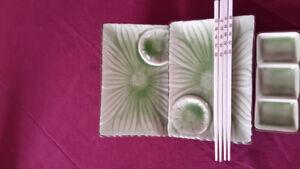 Oriental tea sets, sushi sets