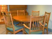 Solid wood dining table and 6 chairs, including 2 carvers - Stag Madrigal