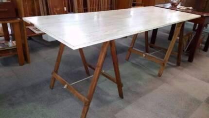 Distressed Pine Trestle Table