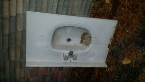 Bathroom counter top  sink with faucet and connectors