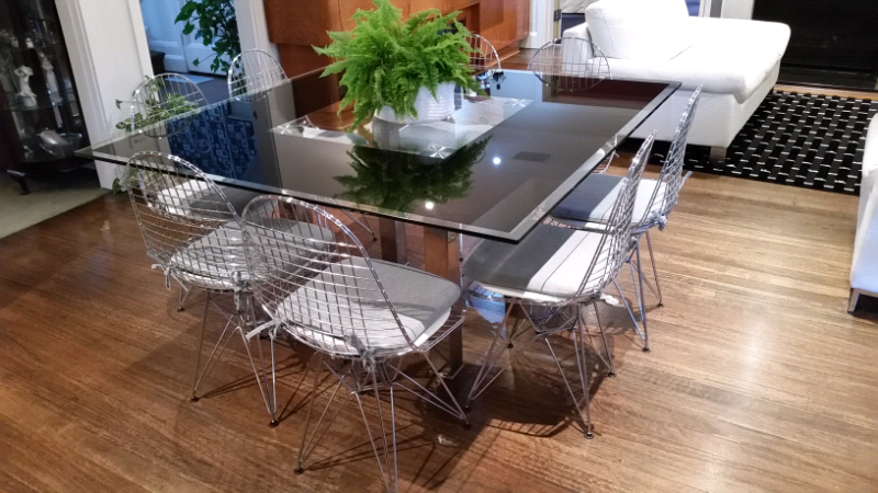 ce266113037a Large Square 8 seat Modern Contemporary Glass Dining Table ...