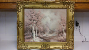 Beautiful vintage winter oil painting