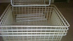 Metal Basket Shelving - White (5 wire baskets and frame)
