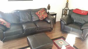 Great condition GENUINE ITALIAN LEATHER COUCH,LOVE SEAT AND CHAI