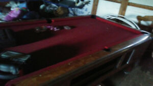 Valley coin op pool table...ready to play on...balls and cues..r