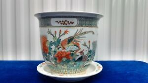 "Set of 2 pieces old Chinese Porcelain Bird & Flower Pot,""康熙年制""款"