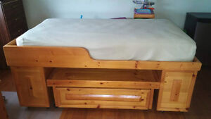 Solid Wood Loft Bed w/ Play Table and Huge Drawers