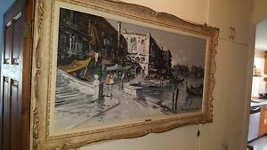 Gorgeous large 48x24 Oil on Canvas painting view of Venice West Island Greater Montréal image 1