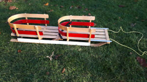 Deluxe Wood Dual Seat Baby Sleigh