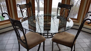 Glass Top Metal Frame Dining Table with Four Chairs
