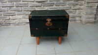 ANTIQUE EXCELSIOR TRAVEL TRUNK ON LEGS