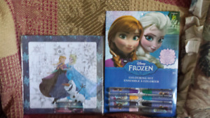2 FROZEN PUZZLE AND COLORING SHEETS (NEW)