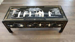 Antique Chinese Coffee Table with inlaid Mother of Pearl