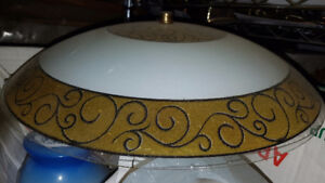 Ceiling light .. White and gold glass cover