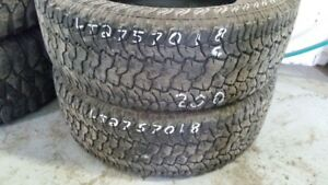 Pair of 2 Kumho Road Venture AT51 LT275/70R18 tires (60% tread l