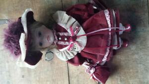 porcelain French Doll ..Christmas Noel red velvet coat / purse