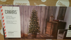 Artificial Christmas Tree with built in lights / pot - used once