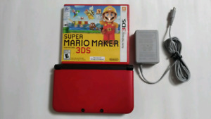 Nintendo 3DS XL, RED with Case & Mario Maker