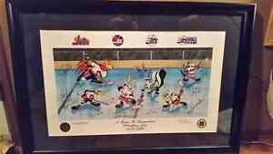 Winnipeg Jets Looney Tunes framed autographed print 833/1000