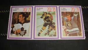 1970-71 Esso Hockey Stamps Set of 3 Jacques Plante,Dallas Smith