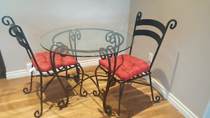Pier 1 wrought iron table and 2 chairs