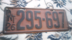 3 Antique Ontario Licence Plates 1924, 1926, 1931