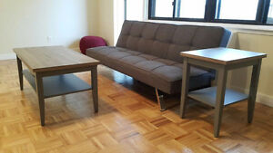 Grey Futon and coffee table set for sale