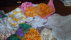 Vintage Colourful Doilies + One Tablecloth Kitchener / Waterloo Kitchener Area image 5