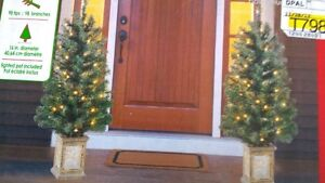 ****NEW **** TWIN CHRISTMAS TREES WITH LIGHTED POTS****