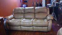 Reclining leather tan sofa