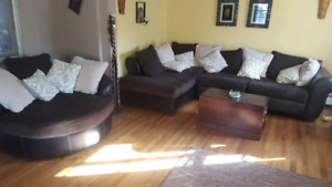 Sectional and Swivel Chair
