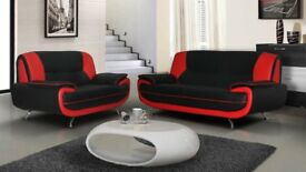 $$BRAND NEW CAROL 3+2 SEATER LEATHER SOFA IN BLACK RED WHITE AND BROWN COLOUR