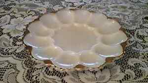 WHITE MILK GLASS EGG PLATE WITH GOLD BORDER