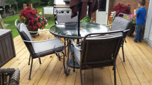 Patio Set - Glass Top Table, 6 Chairs, and 2 Foot Rests