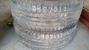 Pair of 2 Goodyear Fortera HL 245/70R17 tires (65% tread life)