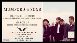 Mumford and Sons Concert Tickets. Detroit, Wednesday, March 27th