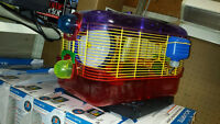 hamster guinea pig  cage with feeding water bottle food bedding