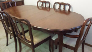 Maple Dining Table Set with 6 Chairs, 2 Matching China Cabinets