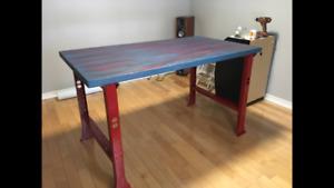 table haute atelier - établie style industriel
