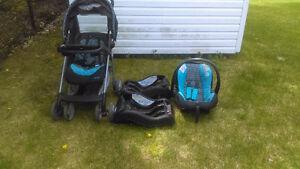 poussette + siège pour bébé (coquille) + 2 bases