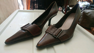 Brown Faux Leather Heels