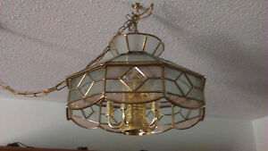 5 light ceiling hanging brass glass light fixture