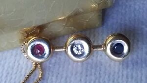 Estate 14K Yellow Gold Ruby, Diamond, and Sapphire Necklace