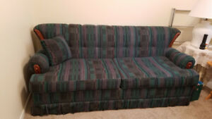 Sofa Bed/Pull-Out Couch with Wooden Accents