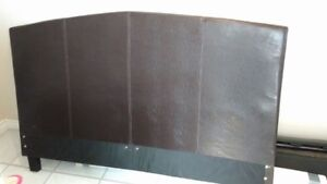 Double size head, foot board and frame. Dark brown leatherette.