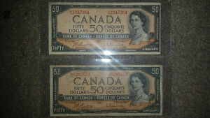 1954 50$ bill only 100$ In good condition for the year........ London Ontario image 1