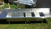 GREAT CONDITION EXTRA HEAVY DUTY TRIPLE BAY SINK!!