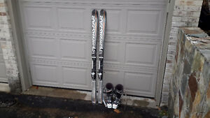 160cm skis and men size 9 boots for sale