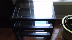 Set of Black Glass Ikea Nesting Tables