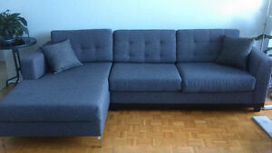 L-shaped grey sectional